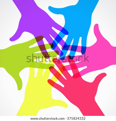 Circle of colorful silhouettes hand prints. This work - eps10 vector file, contain transparent elements  - stock vector