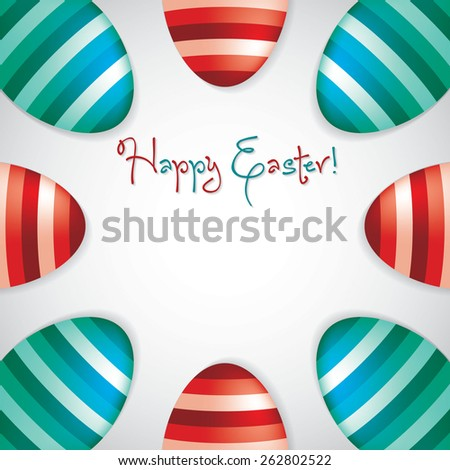 Circle of Easter eggs border in vector format. - stock vector