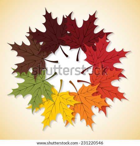 Circle of leaves card in vector format. - stock vector