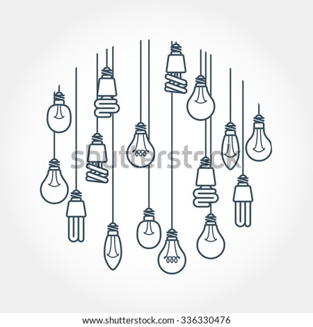 Circle of light bulb hanging on cords - stock vector