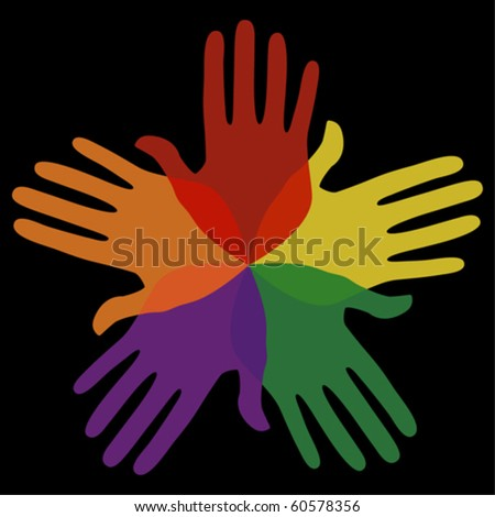 Circle of loving hands. - stock vector