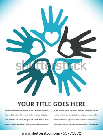 Circle of loving hands with copy space.