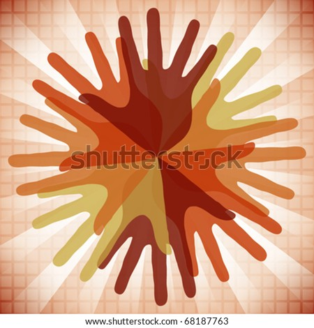 Circle of overlapping hands. - stock vector