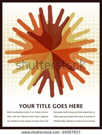 Circle of overlapping hands with copy space. - stock vector