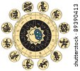 circle of the zodiac signs and antique style - stock photo