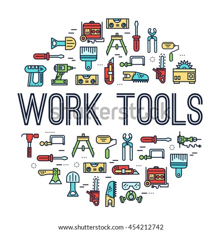 Circle of working tools icons items design. Construction instruments with any elements set. Diy, building, work outline illustrations vector background. Process image on thin line style concept - stock vector