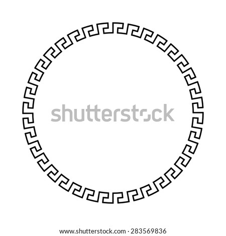 Circle ornament meander. Round frame, rosette of ancient elements. Greek national antique round pattern, vector. Rectangular pulse - stock vector