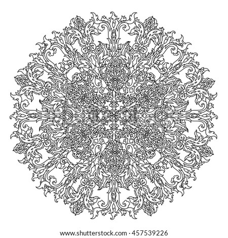 Circle Ornament Of Snowflakes In Shape Mandala For Adult Coloring Book Or Zen Anti