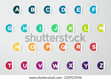 Circle Paper Cut Out Notes With Colorful Letters Of The Alphabet  - stock vector
