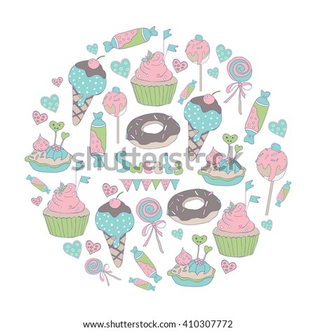 Circle pattern with hand drawn sweets: ice cream, donuts, candy, cupcake, cake. Pastry pattern. - stock vector