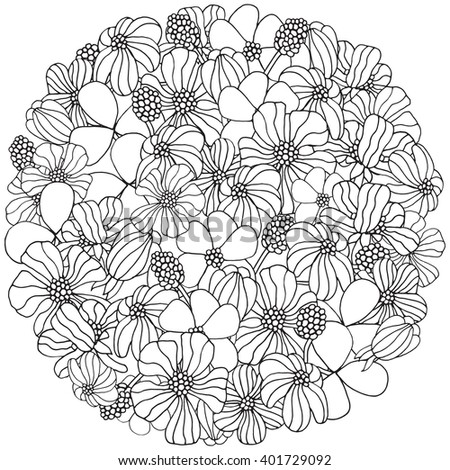 Number Names Worksheets pictures of flowers to trace : Circle Pattern Spring Flowers On White Stock Vector 401729092 ...