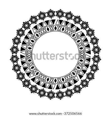 circle polynesian tattoo styled frames. Vector illustration. - stock vector