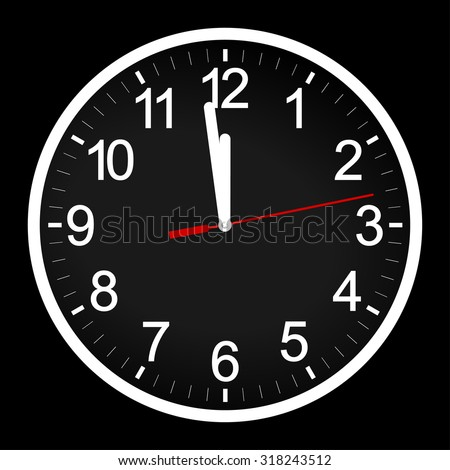 Circle retro analog wall / office clock with white hands and numbers - one minute left to 12 hour. 11:59 / 23:59 time, vector art image illustration, isolated on black background, realistic design - stock vector