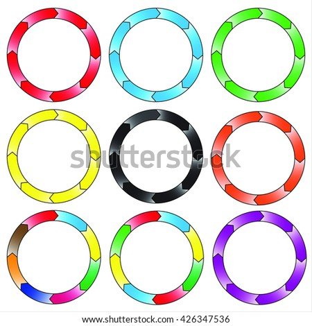 Circle, ring. Set of 9 colorful circles. Eight connection. Vector, EPS