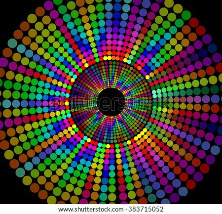 Circle shape composed of rainbow dots on black background, cheerful contrasting decoration for disco, party, festival, night club