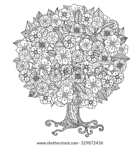 Circle shape orient floral black and white tree could be use  for coloring book  in zentangle style.  - stock vector