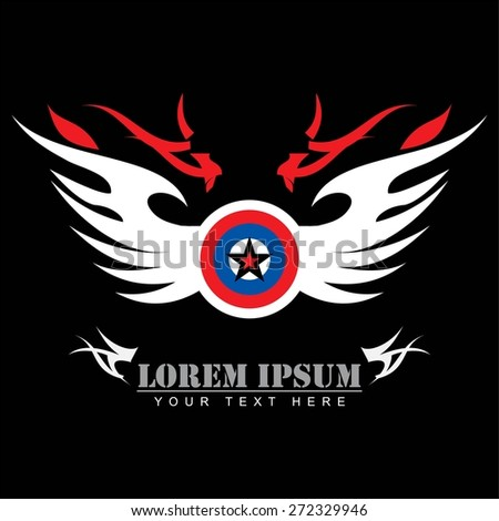 circle star shield with the white wing.  - stock vector