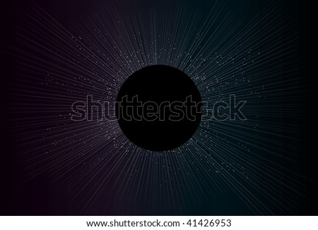 Circle, stars, lines and background are all on separate layers. Simple linear gradients used for background and lines. - stock vector