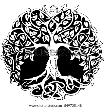 circle tattoo tree design