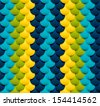 Circle texture, seamless. Blue, green, cyan, yellow. 3d colorful vector texture. - stock