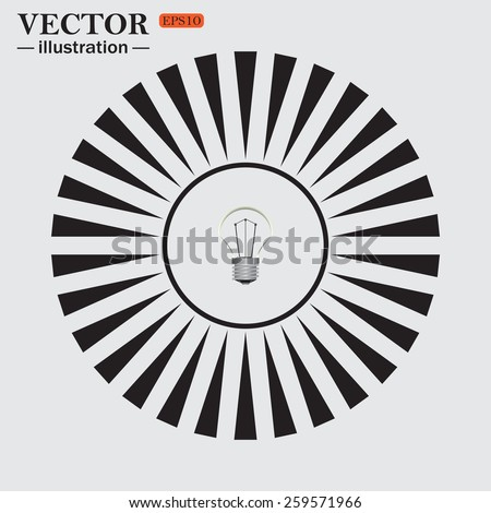 Circle. The sun. Rays. Black icons on white. lamp, incandescent bulb, vector illustration, EPS 10 - stock vector