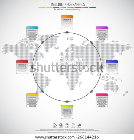 Circle timeline infographics. Flat style. Background with dotted world map