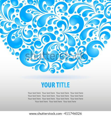 Circle water drops decoration made of swirls shapes, vector illustration background - stock vector