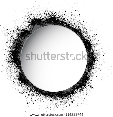 Circle white frame with spray paint blots - stock vector