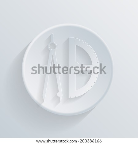 circle white paper icon with a long shadow.  the compass and protractor. characters geometry - stock vector
