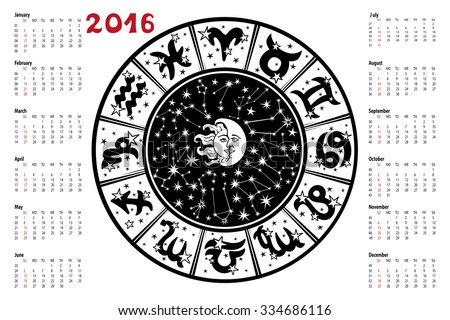 Circle with Zodiac sign.Horoscope circle with Zodiac signs.Constellation,stars ,sun and moon,astrology symbols.White background,black silhouette.Artistic Vector  Illustration.  - stock vector