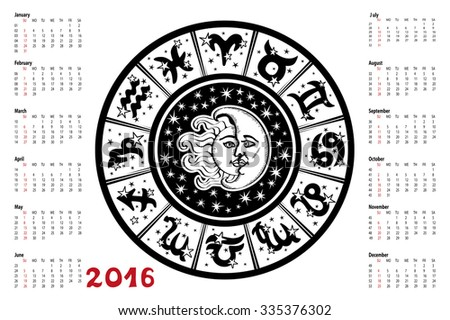 Circle with Zodiac sign.Horoscope circle with Zodiac signs.Constellation,stars ,sun and moon,astrology symbols.White background,black silhouette.Artistic Vector  Illustration. 