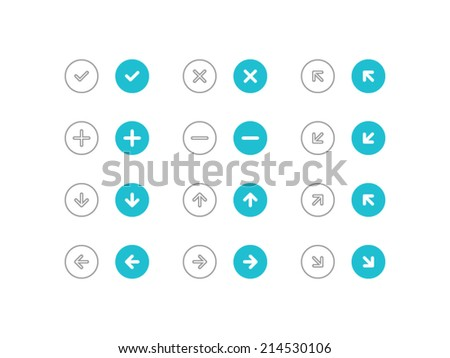 Circled Arrows set. Trendy thin icons for web and mobile. Line and full versions. Normal and enable state - stock vector