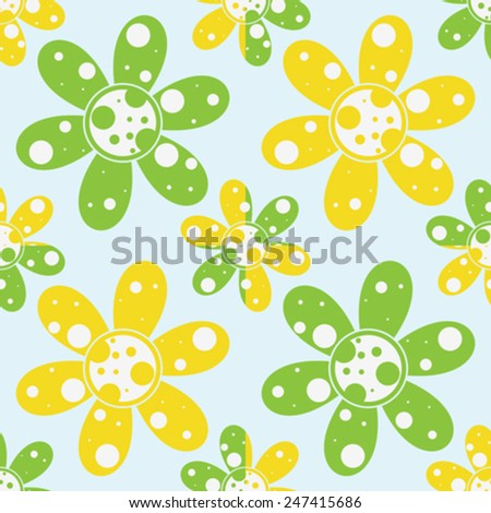 circles and flowers pattern, seamless texture, vector art illustration - stock vector