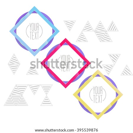 Circles and Squares Compositions Frame Border Elements for Your Cover Page - stock vector