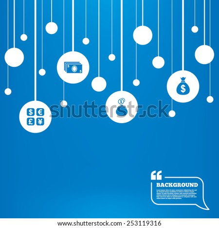 Circles background with lines. Currency exchange icon. Cash money bag and wallet with coins signs. Dollar, euro, pound, yen symbols. Icons tags hanged on the ropes. Vector - stock vector