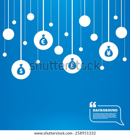 Circles background with lines. Money bag icons. Dollar, Euro, Pound and Yen symbols. USD, EUR, GBP and JPY currency signs. Icons tags hanged on the ropes. Vector - stock vector