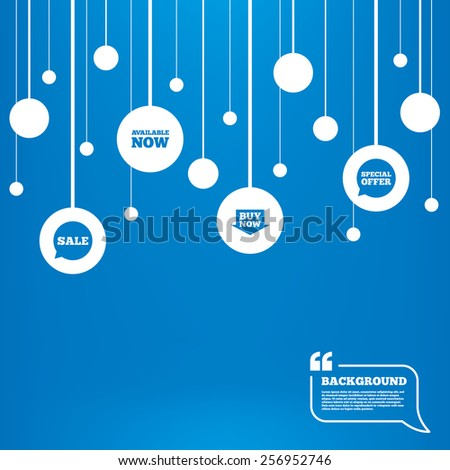 Circles background with lines. Sale icons. Special offer speech bubbles symbols. Buy now arrow shopping signs. Available now. Icons tags hanged on the ropes. Vector - stock vector