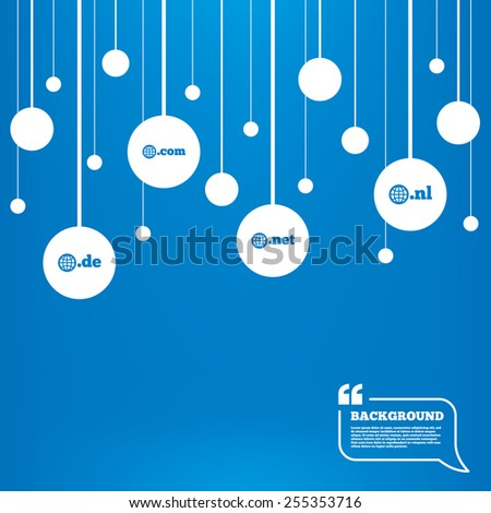 Circles background with lines. Top-level internet domain icons. De, Com, Net and Nl symbols with globe. Unique national DNS names. Icons tags hanged on the ropes. Vector - stock vector