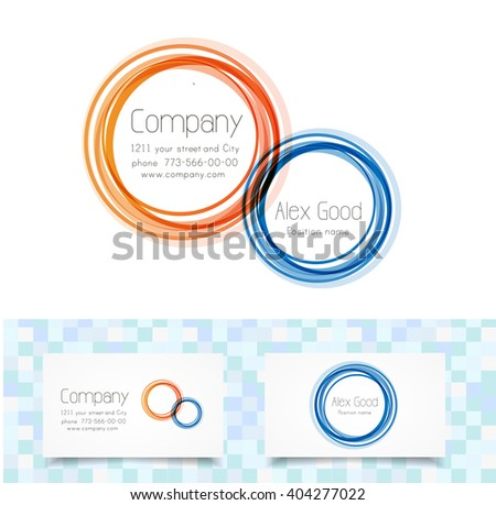 Circles logo design template and cool tile background - stock vector