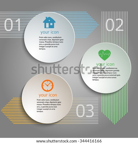 Circles with drop shadows on light glow background. Vector illustration EPS 10 for infographic website or flyer, presentation template, brochure page layout, cover book or magazine - stock vector