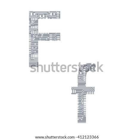 Circuit board alphabet letter F vector