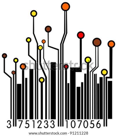 Circuit Board Barcode - stock vector