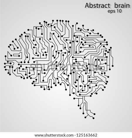 circuit board brain - stock vector