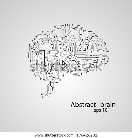 Circuit board brain eps 10, vector illustration - stock vector