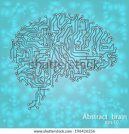 Circuit board brain eps 10, vector illustration - stock vector