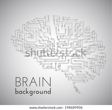 Circuit board brains vector background. Vector eps10. - stock vector