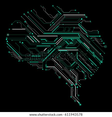 Circuit Board Composed Brain Graphics Stock Vector 611943578 ...