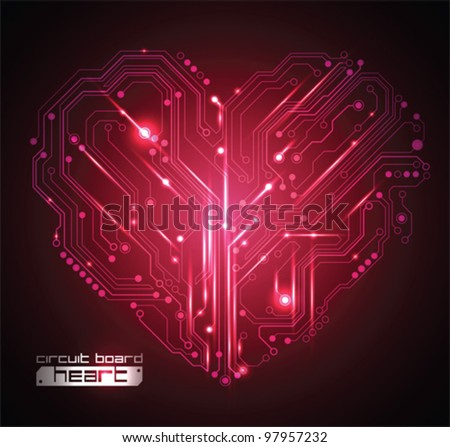 circuit board heart background - creative idea vector - stock vector