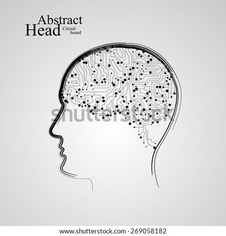 Circuit board human head  eps 10, vector illustration - stock vector