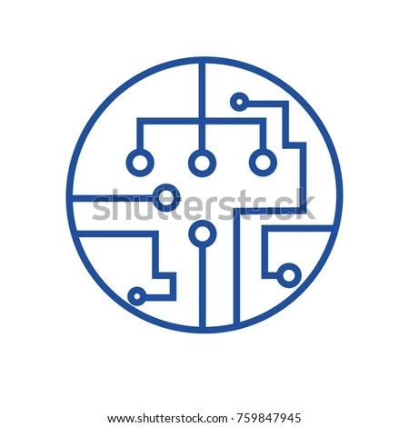 Circuit Board Icon Technology Symbol Signcomputer Stock Vector
